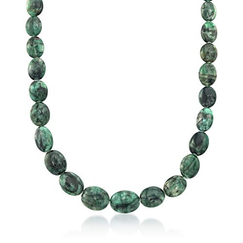 Ross-Simons 10-18mm Emerald Bead Necklace With Sterling Silver