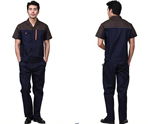 GUDUN Unisex Breathable Cotton Fabric Work Uniform Short Sleeve Coverall Adjustable Coverall...