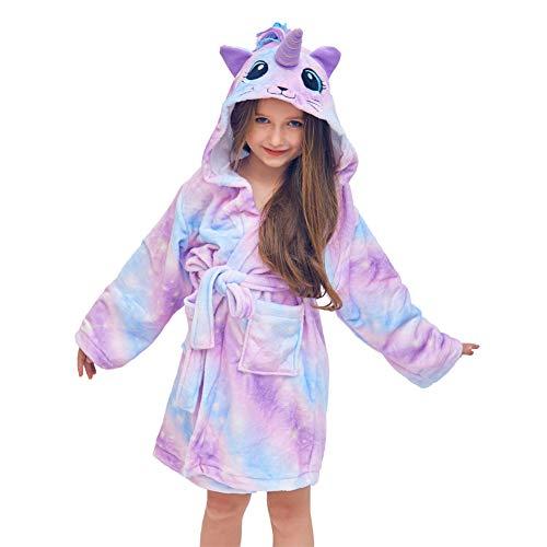 Beinou Unicorn Kid Robes Fleece Kid Bathrobe Rainbow Sleepwear for Girls Soft Long Shower Robe -