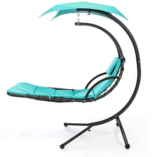 Best Choice Products Hanging Chaise Lounger Chair Arc Stand Air Porch Swing Hammock Chair Canopy Teal