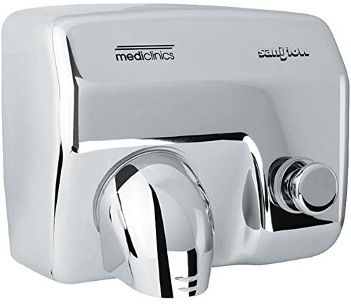 Saniflow E88C Push Button Operated Hand Dryer, Steel One-piece Cover with Bright (Polished) Chrome Plated Steel 5/64