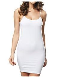 Women's Spaghetti Straps Straight Dress Long Cami Full Slip Dress Body Shaper