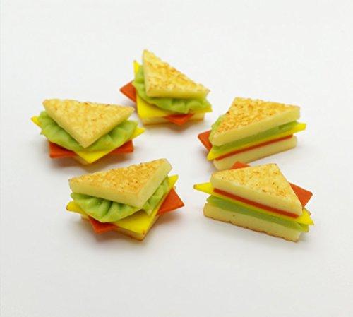 5 pcs Dollhouse Miniature Sandwiches Ham Cheese Bakery (Barbie Food)