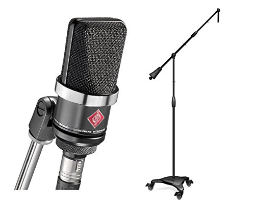Neumann TLM 102 Black Cardioid Condenser Microphone + Ultimate MC-125 Stand