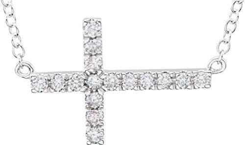 Diamond Sideways Cross Pendant Rhodium Plate14k White Gold Necklace, 18