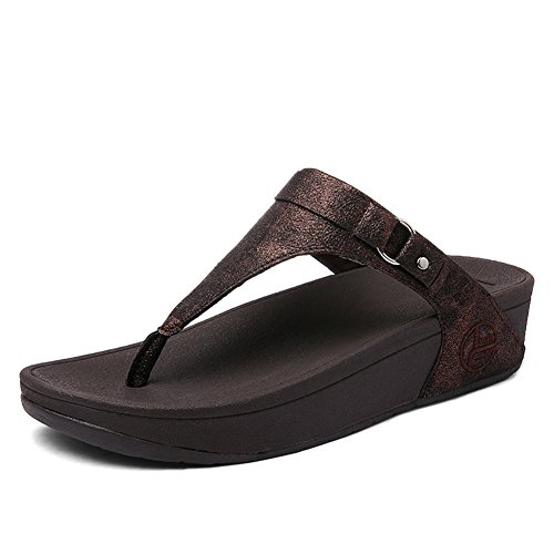 SHAKE Women's Leather Buckle Flip-Flops Summer Fashion Wedge Shoes Toe-Thong Sandals for Female (7.5US=Women EU 39, R031 Brown)