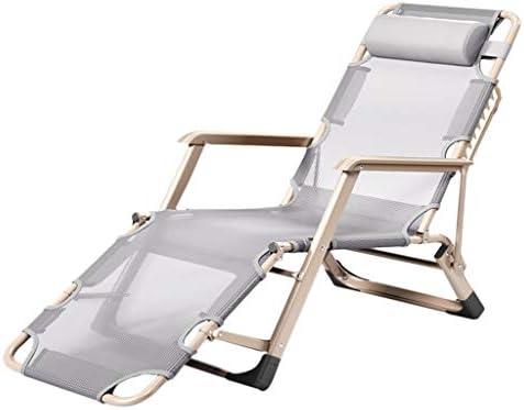 c28222ac6eb0 Amazon.com : Folding Chair Grey Nap Bed Home Chair Back Lazy Portable Chair  Beach Lunch Break HUYP : Garden & Outdoor