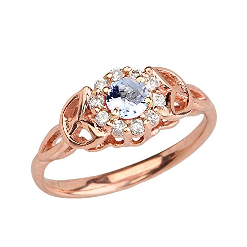 Precious 10k Rose Gold Diamond and Aquamarine Engagement/Proposal Ring (Size 11.25)