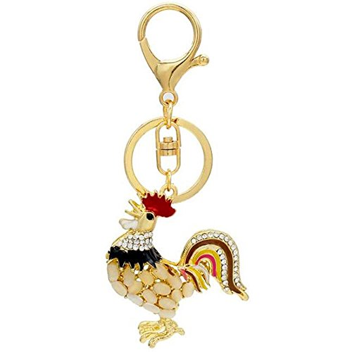 EatingBiting(R) Rooster Cock Crystal Rhinestone Keychain Key Chain Sparkling Key Ring Charm Purse Pendant Handbag Bag Decoration Holiday Gift (Rhinestone Rooster)
