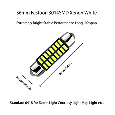 36mm 6461 6418 Festoon LED Bulbs,36mm 37mm 38mm festoon Led Light Bulbs for Car Interior Lights, Dome Map Lights,Trunk Lights, 16pcs 3014 Chipsets Bright 6000K Xenon White pack of 4: Automotive