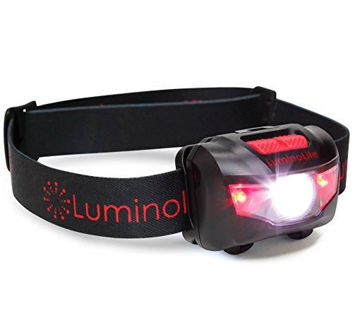 Ultra Bright CREE LED Headlamp - 160 Lumens, 5 Lighting Modes, White & Red LEDs, Adjustable Strap, IPX6 Water Resistant. Great For Running, Camping, Hiking & More. Batteries Included ()