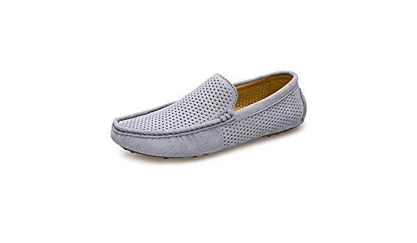 Amazon.com: Loafers Summer Breathable Genuine Moccasins Men Driving Leather Casual Shoes Slip On Mocasines Hombre Gray 6.5: Clothing