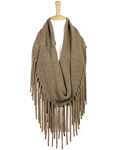 Long Sash Style Scarf (High Fashion Long Fringe Infinity Knit Scarf (Taupe))