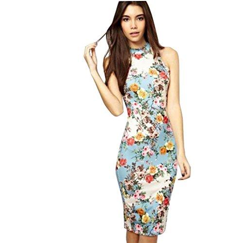 Vestido Amlaiworld Mujeres Floral impreso vestido sin mangas mini lápiz Azul