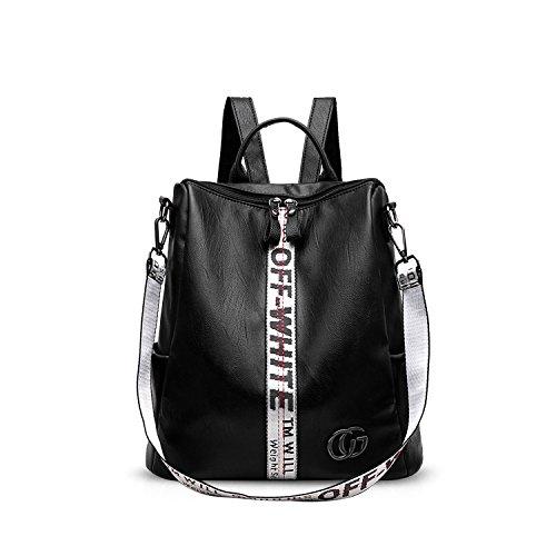 Women Fashion Leather Tassel Backpack Travel Shoulder Bag White - 5