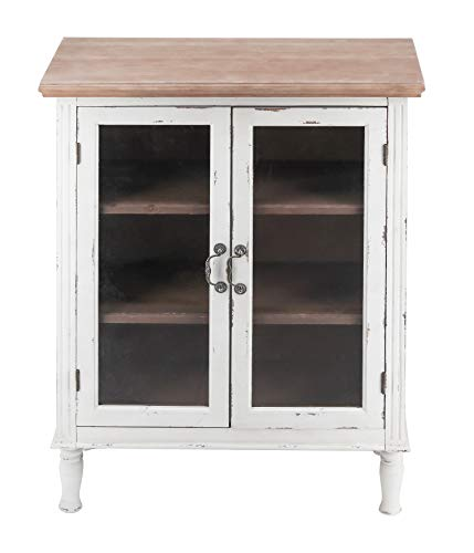 Retro Wood Floor Cabinet with 2 Glass Doors and 3 Shelves - Vintage Storage Organizer for Bathroom Kitchen Living Room…