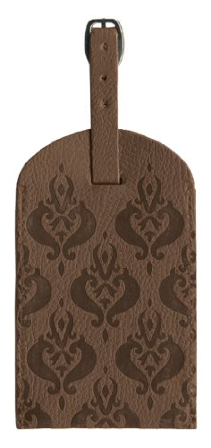 (Pierre Belvedere Executive Line Embossed Luggage Tag, Arabesque, Chocolate)