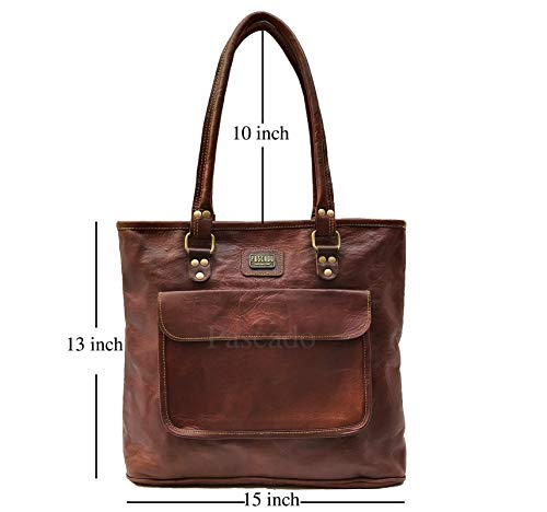 40f4e0bb802b PASCADO Women top handle leather work tote purse shoulder Vintage dark  brown soft bag 15 inch with zipper