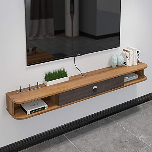 Wall Shelf Floating Shelf TV Shelf Wall-Mounted TV Cabinet with Drawer Set Top Box Router Sky Box TV Remote Control Cable Box Storage Shelf (Color : Walnut Color)