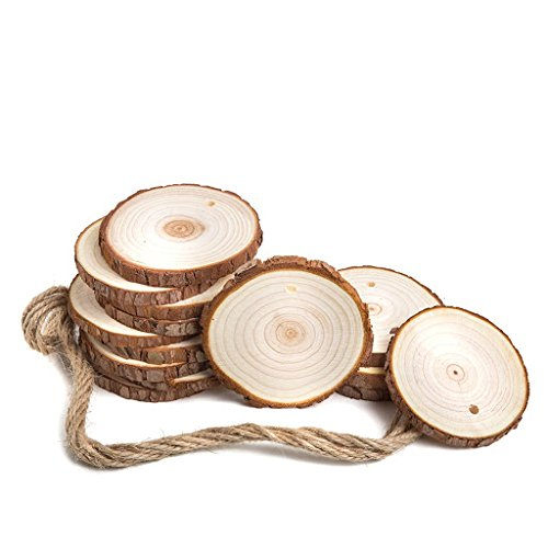 14 Unfinished Wood Tree Bark Slices With Predrilled Holes & Jute Twine Round Solid Log Discs Best For Arts & Crafts Wall Décor Wedding Christmas Ornaments DIY Projects & More by (Sliced Log)