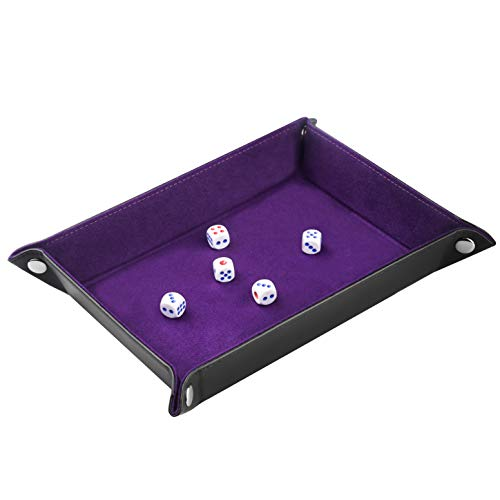 (ELYTP Dice Tray of Folding Rectangle PU Leather and Dark Purple Velvet Valet Tray for Dungeons and Dragons RPG and Other Table Games)