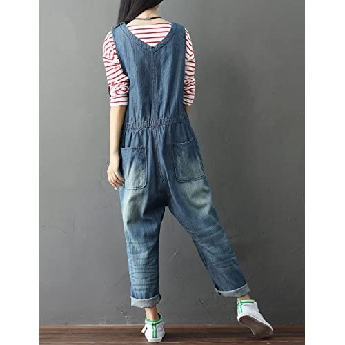 e4816f6e6e1 good Yeokou Women s Loose Baggy Denim Wide Leg Jumpsuit Rompers Overalls  Harem Pants