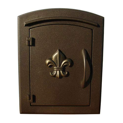 QualArc MAN-1402BZ Manchester Column Mount Mailbox with Decorative Fleur De Lis Door in Bronze