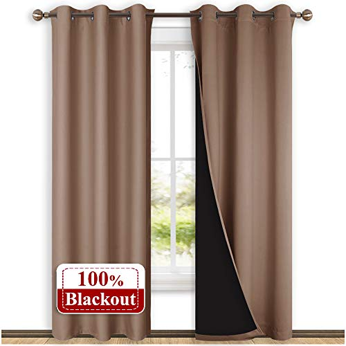 NICETOWN 100% Blackout Curtains Thermal, Noise Cancellation and Privacy Truly Blackout Curtains for Patio Door, Black Lined Blackout Drapes with Grommet Top, Taupe, 1 Pair, W42 x L84