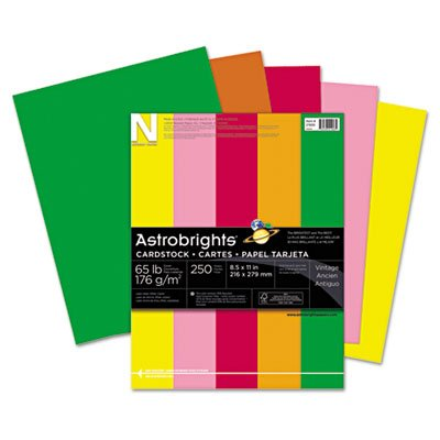 Astrobrights Colored Card Stock, 65 lb., 8-1/2 x 11, Assorted, 250 Sheets