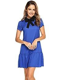 ANGVNS Women's Cute Bowknot Short Sleevele Fishtail Ruffled Casual Summer Dress