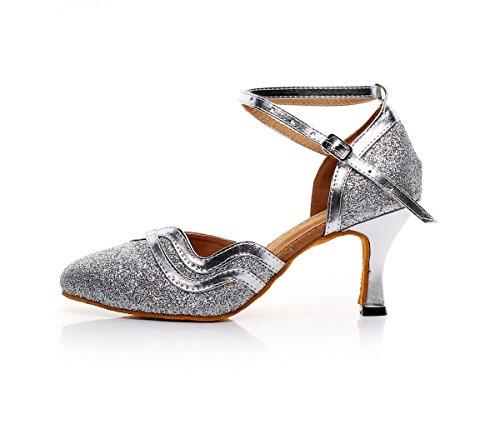 CFP 7110 Womens Salsa Dance Shoes Latin Tango Cha-Cha Ballroom Party Wedding Sudue Sole Kitten Heel Closed Toe PU Ankle Strap Silver o84DPKaaW