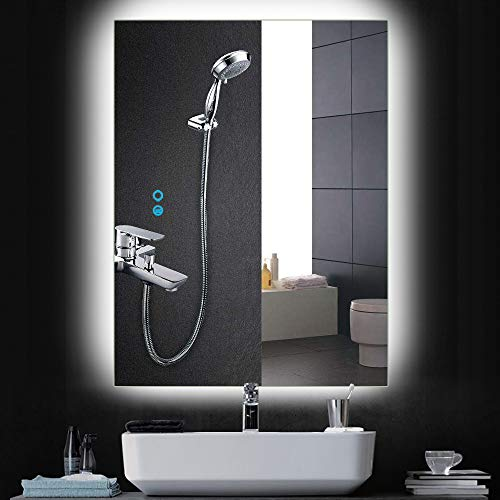 PexFix Wall Mounted LED Bathroom Mirror, Lighted Vanity Mirror with Touch Dimming -