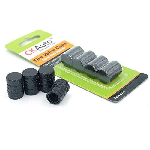 Tire Valve Stem Cap, Black, 4 pcs/Pack, Anodized Aluminum Valve Stem Cap Set, TPMS Sensor Safe, Corrosion Resistant, Ideal for Cars Trucks Motorcycles and Bikes
