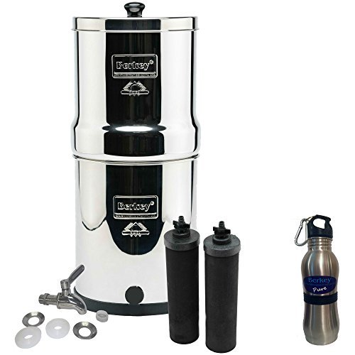 Big Berkey Water Filter Stainless Steel Bundle: 2 Black Filters, Stainless Steel Spigot, 1 Stainless Steel Water Bottle (2 Gallon Big Berkey)