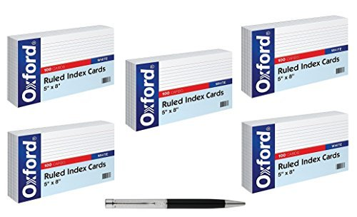 Oxford Ruled Index Cards, 5'' x 8'', White, 100/Pack, Sold As 5 Packs - Bundle Includes Plexon Ballpoint Pen
