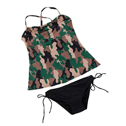 Longra☀Traje de baño del ejército traje de baño de camuflaje superior bikini