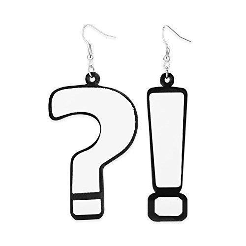 Pendientes asimétricos, Mujeres elegante colgante de gota de acrílico Anillos de oído Signo de interrogación Signo de...