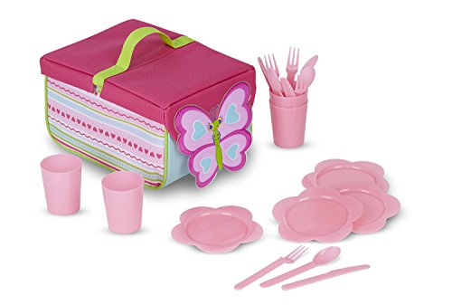 Melissa & Doug Sunny Patch Cutie Pie Butterfly Picnic Set With Basket, Plates, and Utensils (Apple Picnic Time)