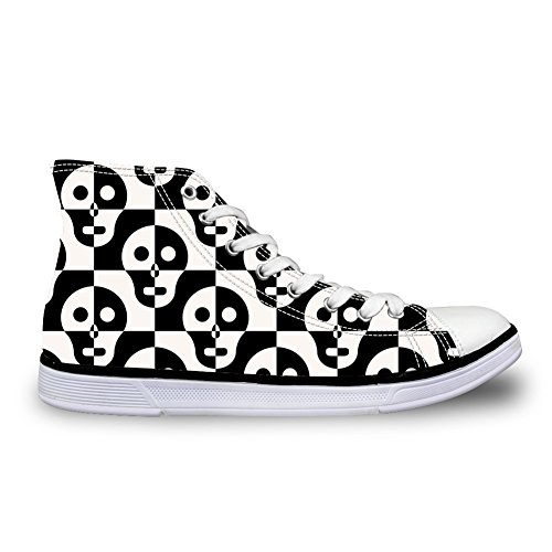 HUGS IDEA Vintage Womens Canvas High Top Lace Up Sneakers Skull 10