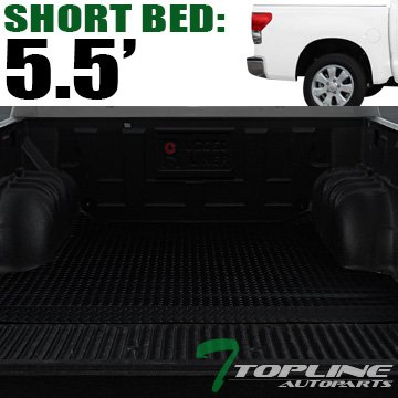Topline Autopart Black Rubber Diamond Plate Truck Bed Floor Mat Liner For 07-18 Toyota Tundra 5.5 Feet (66