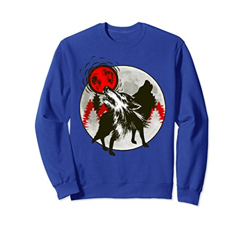 Wolves Howling At The Moon (Unisex Wolves Howling At Red Moon Silhouette Wildlife Sweatshirt XL: Royal Blue)