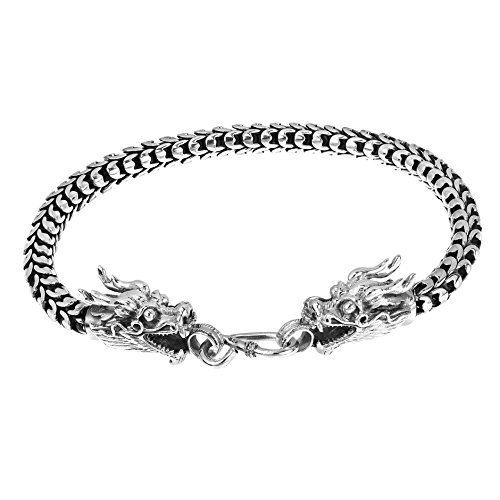 AeraVida Loyal Dragon Thai Yao Hill Tribe Fine Silver Link Bracelet-8 - Hill Tribe Silver 10mm