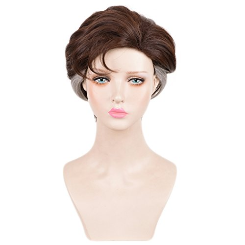 SiYi Hair Short Brown Silver Wigs for Mens Halloween Costume Party Cosplay Wig (Homemade Halloween Costumes For Men)