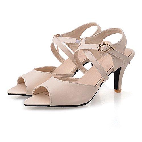 Amoonyfashion Kvinna Mjukt Läder Spänne Peep Toe Kick-häl Fasta Heeled-sandaler Nakna