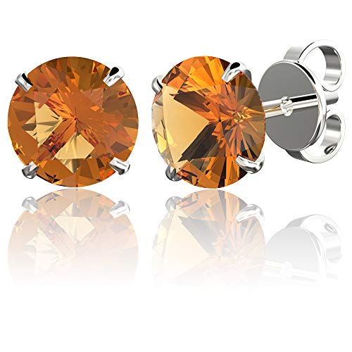 .925 Sterling Silver Hypoallergenic Citrine Cubic Zirconia Round Brilliant-Cut Stud Earrings, 4mm