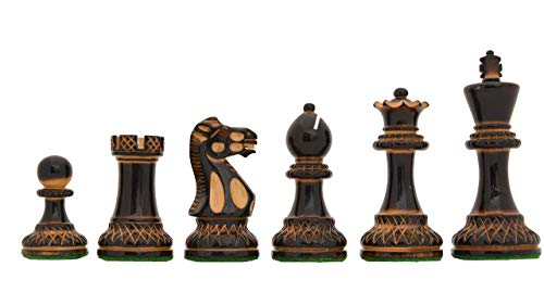 CHESSBAZAAR - The Parker Staunton Series Lacquered Chess Set in Burnt Boxwood & Natural Boxwood - 3.9