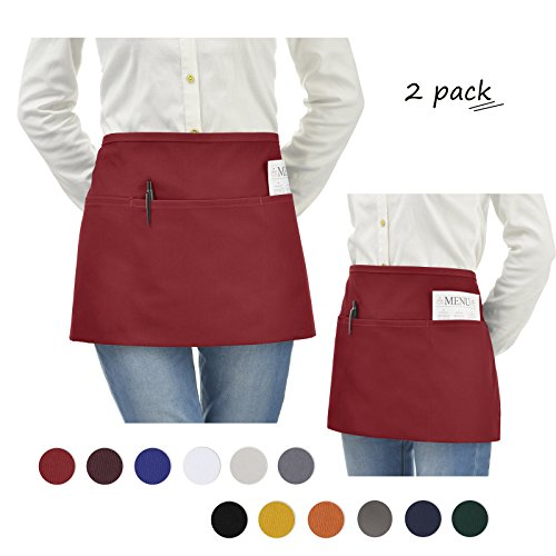 VEEYOO Stylist Waist Chef Apron with Pockets, Set of 2, Durable Spun Poly Cotton, Restaurant Short Bistro Half Aprons for Men Women, 24x12 inches, ()