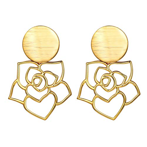 Gold Acrylic Rose Stud Earrings Statement Bohemian Gypsy Jewelry 18K Gold Plated Matt Disc Round Drop Dange Earrings