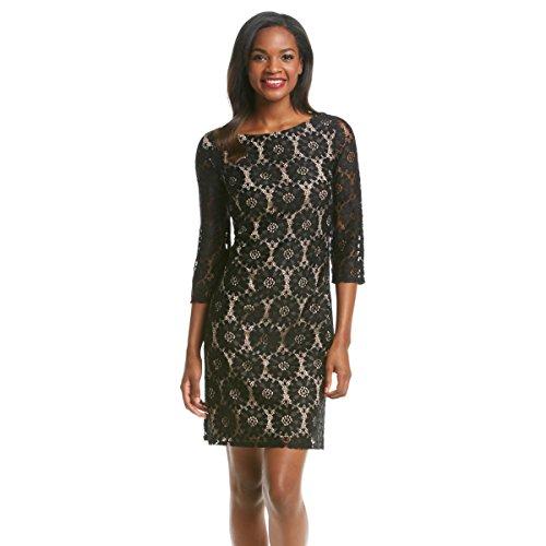 Jessica Howard Women's Lace Overlay Shift Dress, Black Tan, 14