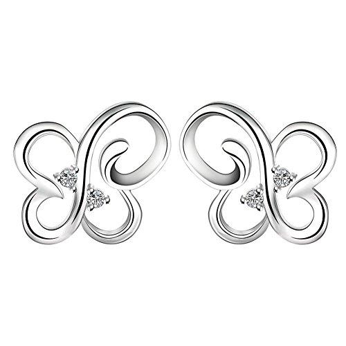 Black Carved Bracelet Agate (Fashion Simple Earrings Openwork Butterfly Stud Earrings Ladies Earrings)